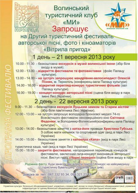 Програма Фестивалю «Вітрила пригод 2013» (21-22 вересня)