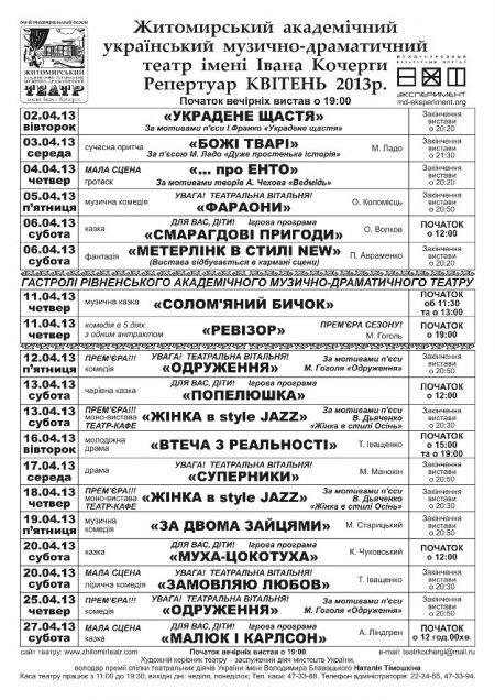 Репертуар Житомирського театру ім. Івана Кочерги на березень-квітень 2013