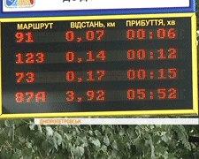 В Днепропетровске установили табло с данными о передвижении маршруток