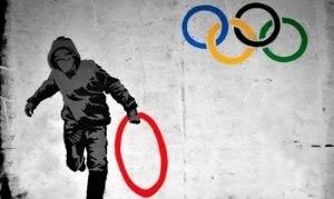 Провокация британских художников. Олимпийские кольца.