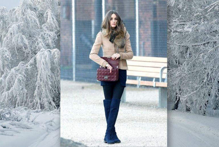 девушка в ботфортах зимой