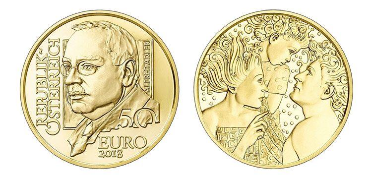 Монета 50 евро 2018. Австрия