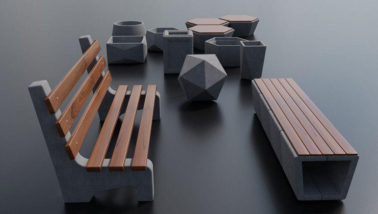 стильная урна из бетона